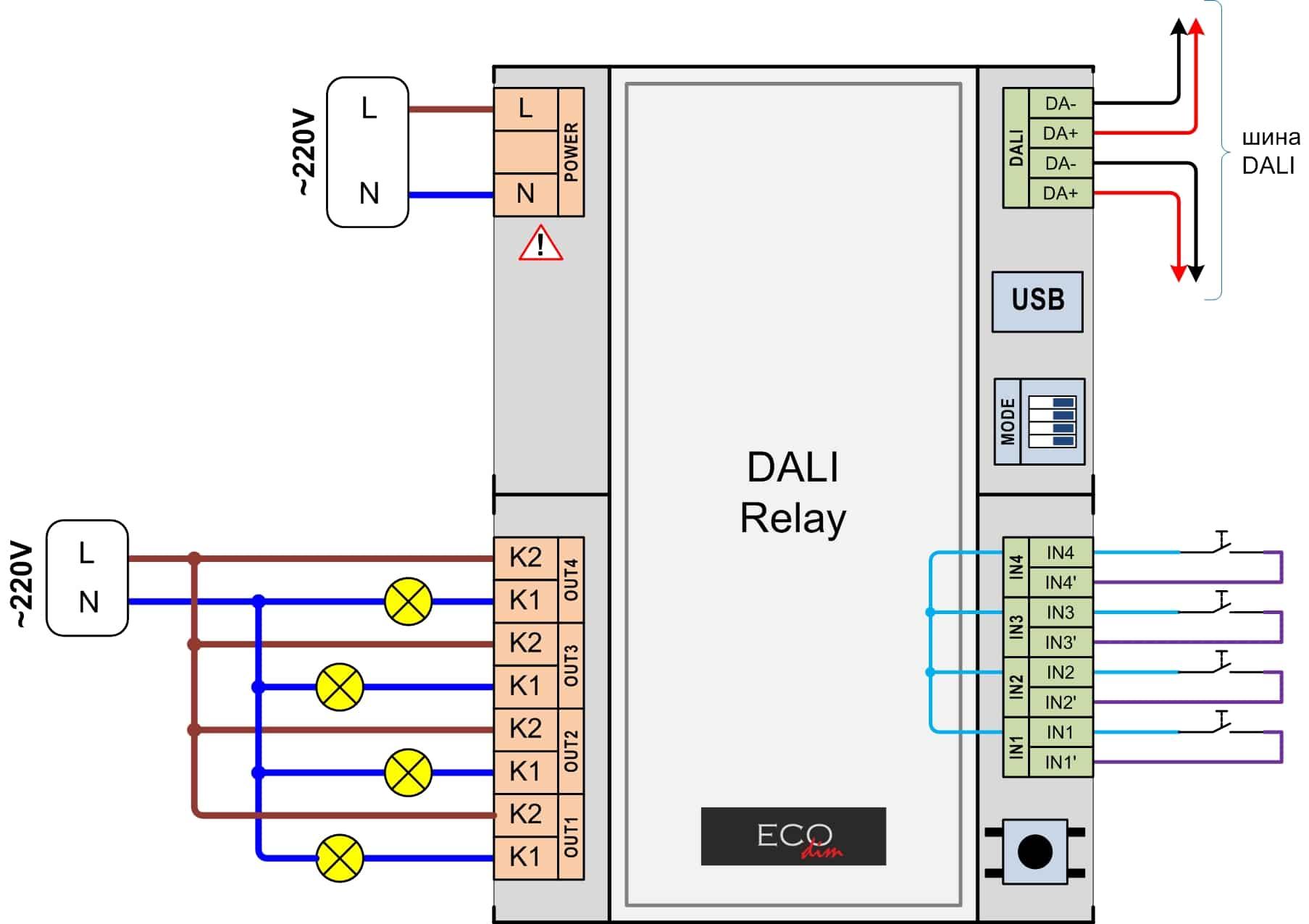 Релейный модуль DALI Relay